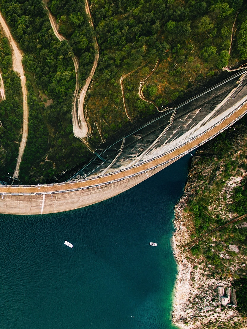 Drone photo of Valvestino Dam on Lake Garda in Italy