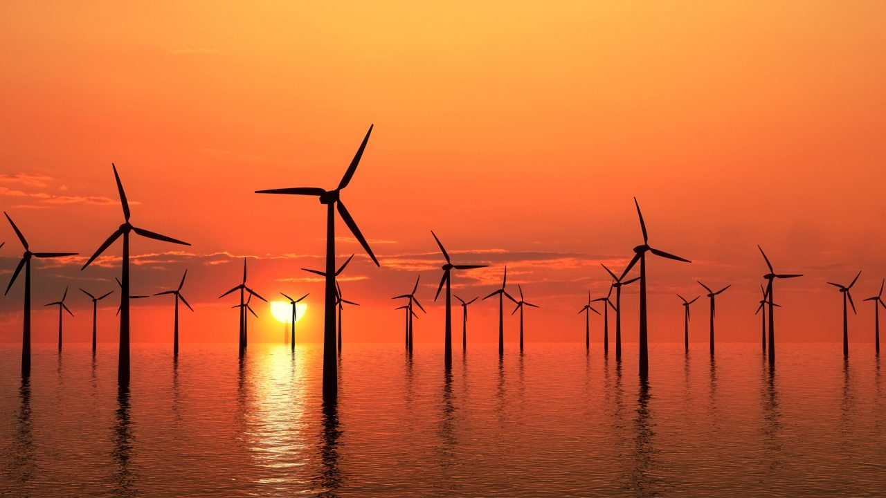 Wind farms at sunset