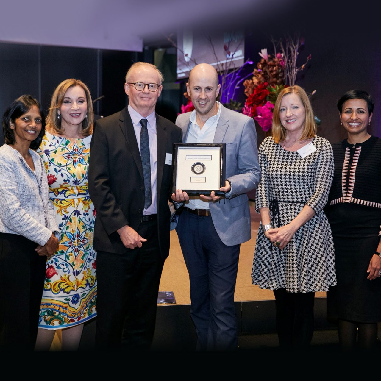 From left to right: Shemara Wikramanayake (Macquarie Group Foundation), Professor Nadia Badawi, Rob White, Peter Horsley, Tracey Jordan (Cerebral Palsy Alliance) and Lisa George (Macquarie Group Foundation)