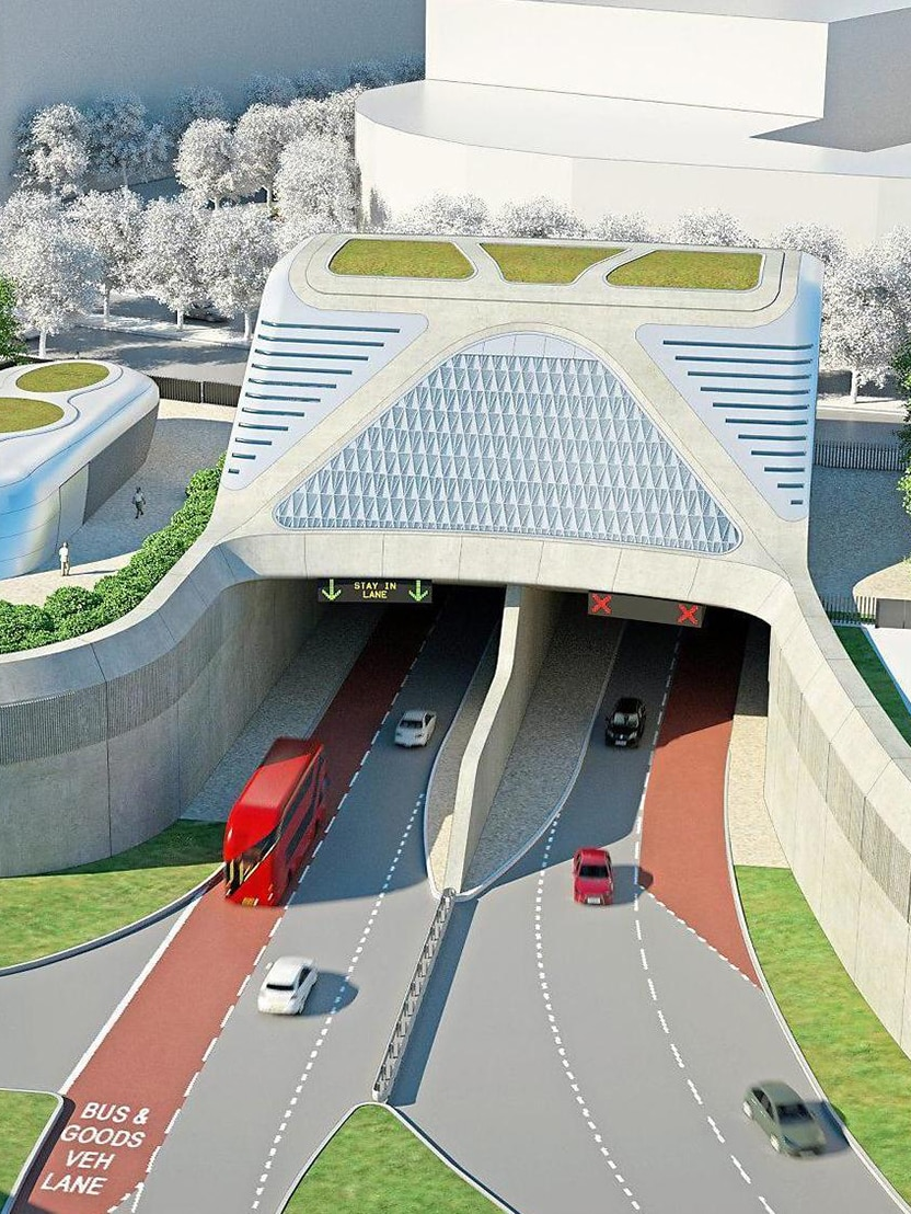 Artist impression of the road crossing across the River Thames