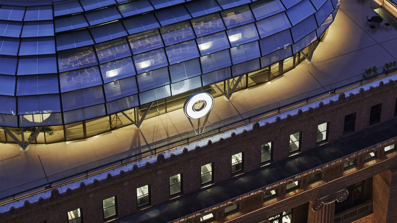 Roof of 50 Martin Place Sydney, Macquarie headquarters at night