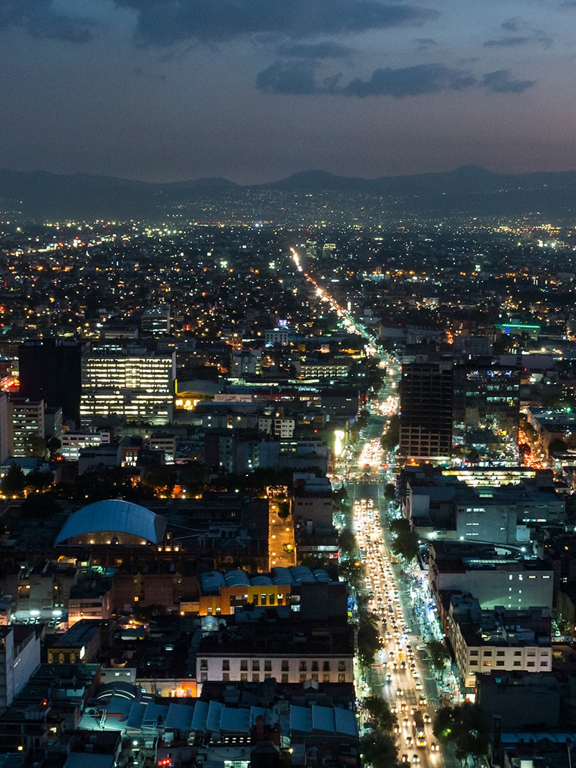 Night skyline in Mexico City