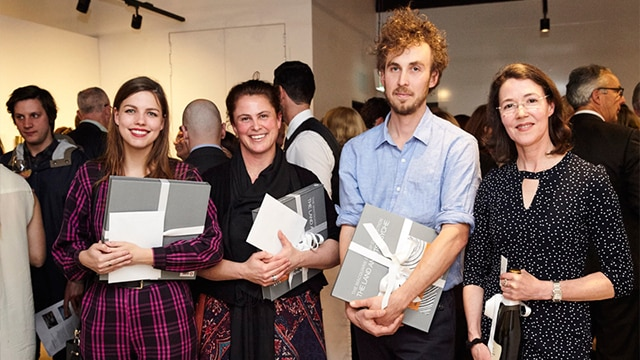 L-R: Danielle Tooley, winner of Nick Waterlow OAM Highly Commended Award, awarded by the art committee of the Macquarie Group Collection; Chris Casali, winner of the Highly Commended Award; Aaron Carter, winner of the 2016 Macquarie Group Emerging Artist Prize; Guest judge Louise Hearman