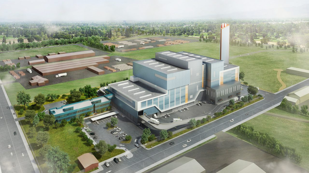 An isometric render of the design of Kwinana, Australia's first thermal waste-to-energy facility