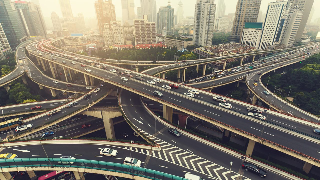Big highway junction in Shanghai, China with traffic