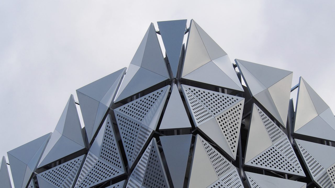 Aluminium cladding on modern building facade