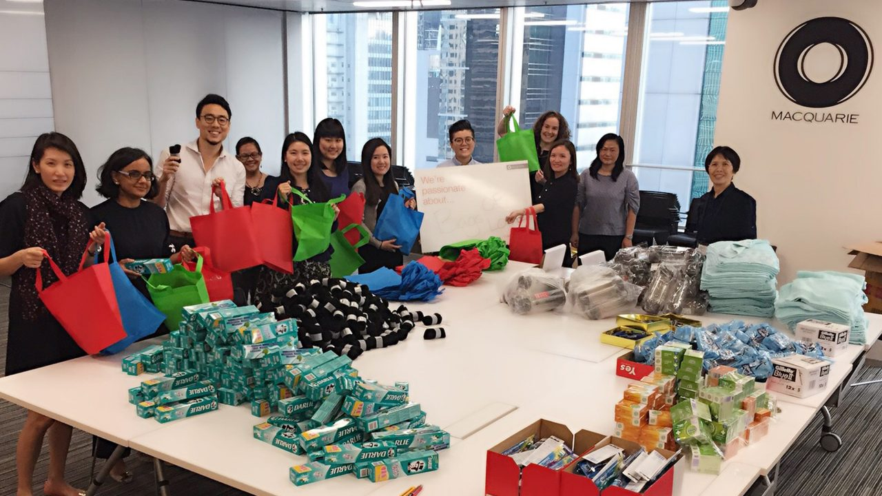 Staff packing bags for charity