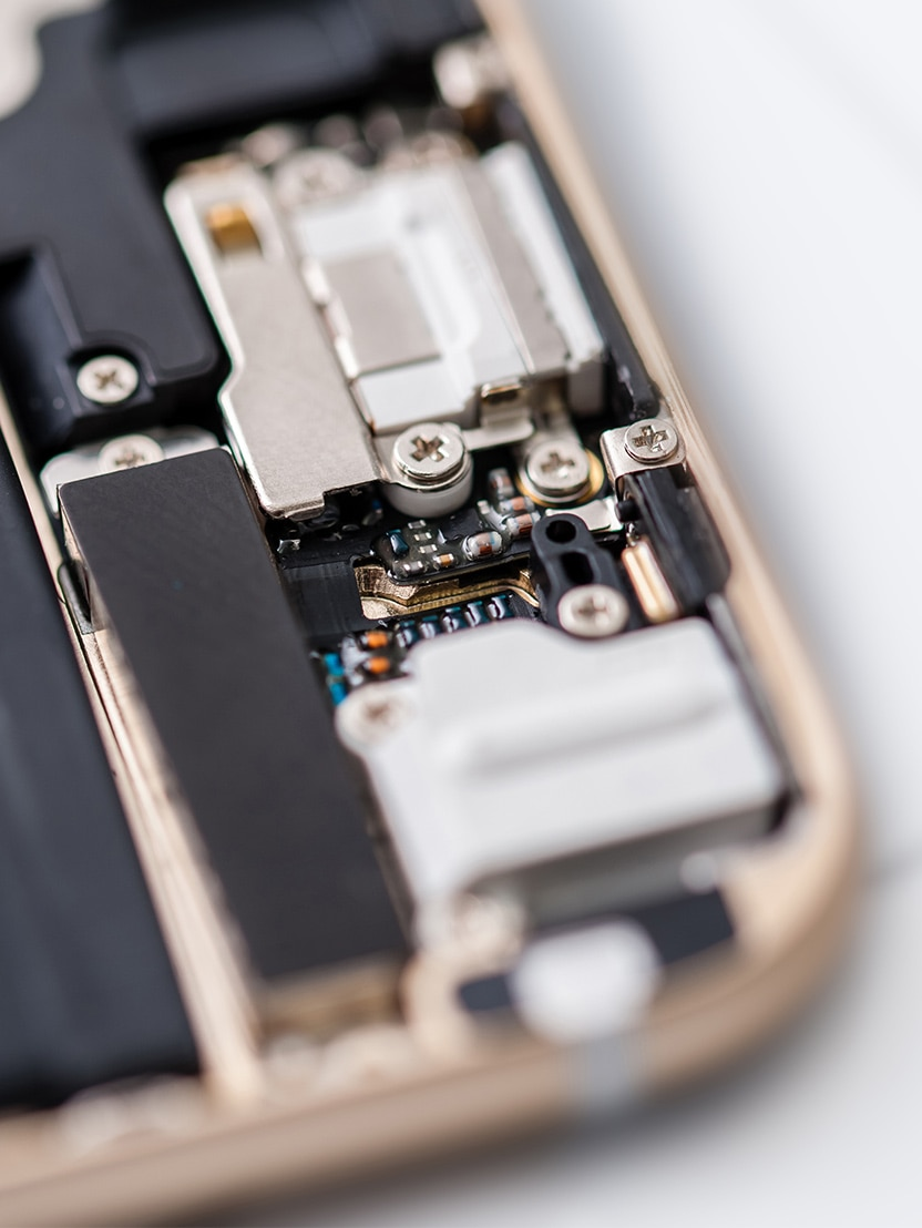 Close-up photos of electronic components of a mobile cell phone